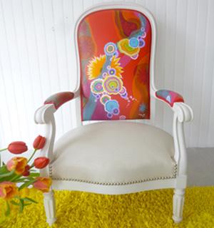 peinture sur tissu et fauteuils pierre moun fauteuils d 39 art. Black Bedroom Furniture Sets. Home Design Ideas